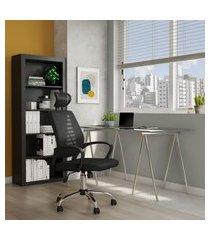cadeira de escritório diretor giratória limpid preta