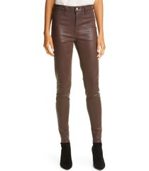women's l'agence marguerite coated high waist skinny jeans, size 32 - brown