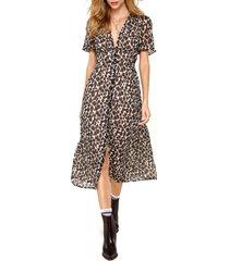 women's heartloom carson leopard print midi dress, size medium - brown