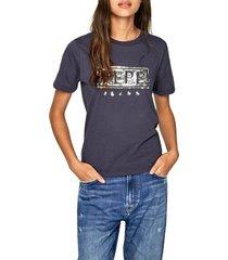 camiseta azul-plateado pepe jeans