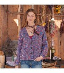sundance catalog women's ragtime cardigan in purple 2xl