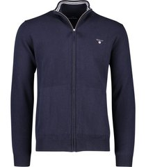 gant vest lamswol donkerblauw