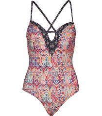 mystic cross back swimsuit baddräkt badkläder rosa odd molly