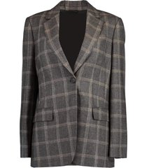 monili and hematite brooch check flannel jacket