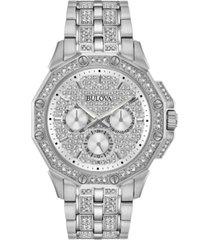 bulova men's stainless steel & crystal-accent bracelet watch 41.5mm
