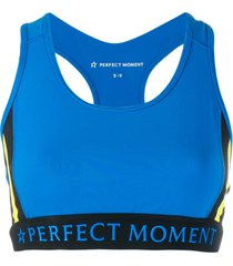 perfect moment top esportivo com decote nadador - azul