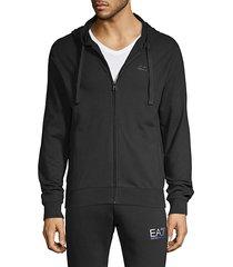 solid cotton zip-up hoodie