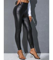 yoins leggings negros de piel sintética
