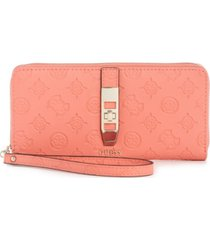 guess peony debossed logo zip around wallet