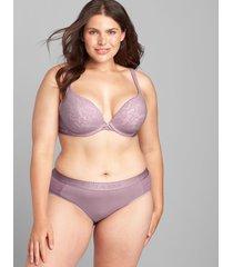 lane bryant women's cotton boost plunge bra with lace 46d elderberry