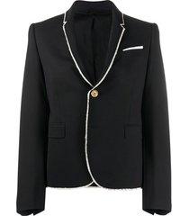neil barrett blazer com acabamento desfiado - preto