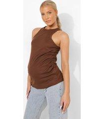 zwangerschap geribbeld hemdje met racer hals, chocolate