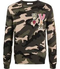 valentino camouflage military badge embellished sweater - green