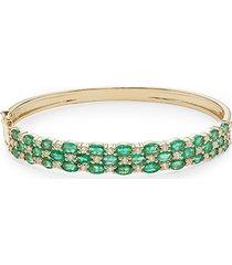 effy women's 14k yellow gold, emerald & diamond bracelet