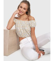 blusa blanco-multicolor active
