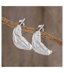 sterling silver drop earrings, 'textured braids' (costa rica)