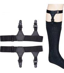 uomo reggicalze ferma calze regolabile con 2 clips giarrettiera bretelle per calzini a lungo tubo