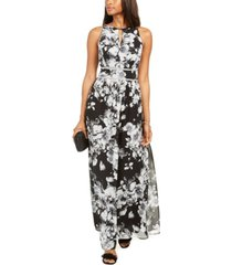 r & m richards rhinestone-waist floral-print gown