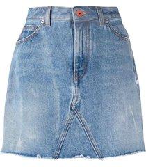 high-waisted mini denim skirt
