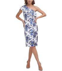 eliza j floral-print one-shoulder dress