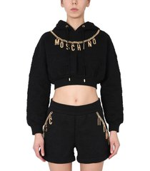 moschino smile quilted cotton sweatshirt