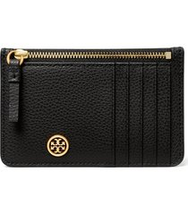 women's tory burch walker leather top zip card case - black