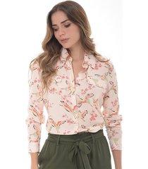 camisa para mujer en chalis multicolor