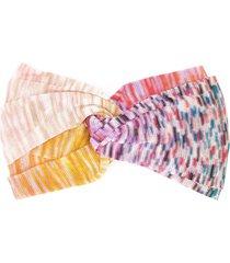 missoni knot detail knitted headband - purple