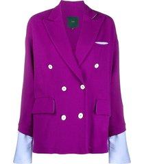 jejia loose-cut double-breasted blazer - purple
