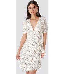 na-kd overlap dotted dress - white
