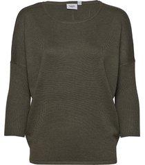 a2561, knit blouse w rib sl stickad tröja grön saint tropez