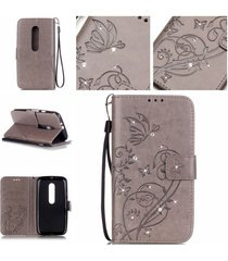 moto g3 case,moto g (3rd gen) case,xyx [gray, emboss flower] [card slot][bling g