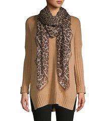 leopard-print cashmere scarf