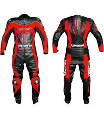 men black red motorcycle racing leather suit jacket hump pants for kawasaki
