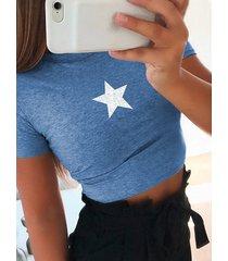 camiseta de manga corta con cuello redondo y estrella