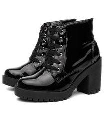 bota coturno feminino verniz salto alto conforto casual leve preto