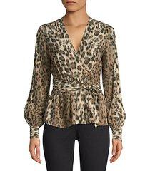 arin leopard print faux-wrap blouse