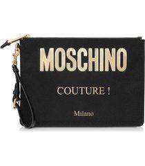 moschino designer handbags, black and gold nylon signature clutch