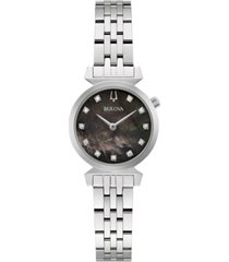 bulova women's classic regatta diamond-accent stainless steel bracelet watch 24mm