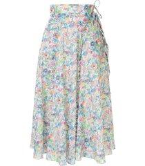 horror vacui scallop trim full skirt - blue