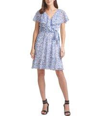 dkny floral-print faux-wrap dress