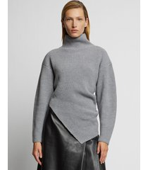 proenza schouler asymmetric merino turtleneck sweater /grey l