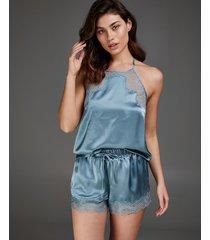 hunkemöller pyjamasshorts i silke blå