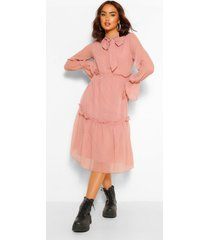 dobby mesh pussy bow tiered smock midi dress, soft pink