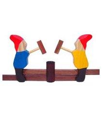 brinquedo de madeira bohney anões móveis colorido