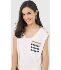 camiseta desigual verona off-white/azul-marinho