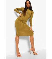 petite geribbelde midi jurk met hoge hals en open rug, olive