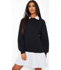 katoenen poplin zoom sweatshirt jurk met kraag, zwart