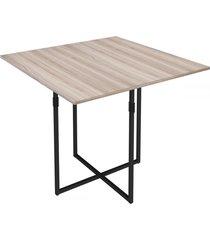 mesa de madeira teka carvalho/preto - novabras
