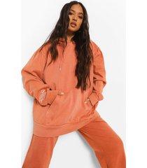 petite acid wash gebleekte calabasas hoodie, orange